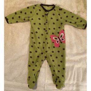 Carter's Green and Brown Polka Dot Butterfly PJ